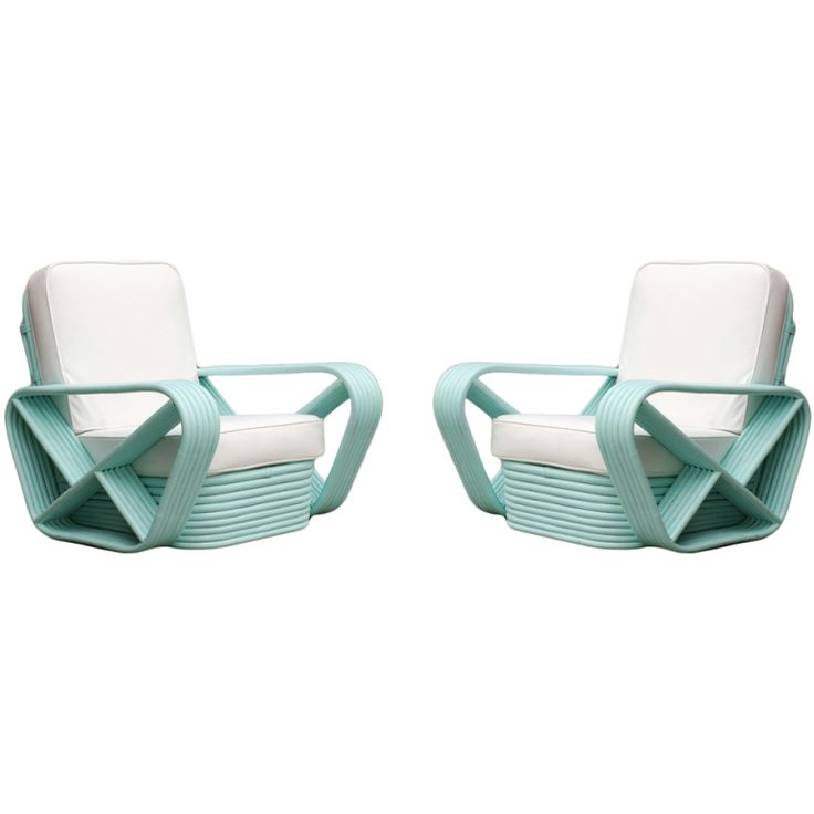 1stdibs | Teal Square Pretzel Stacked Rattan Armchairs in the style of Paul Frankl