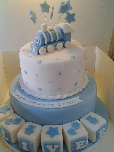 Boys train themed Christening cake