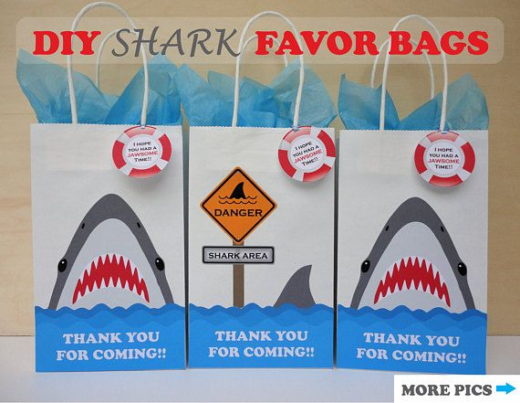 Shark Party FAVOR BAGS/ Shark Birthday Party ideas/ Shark Attack party theme/ Under the Sea party ideas/ Boys Pool Party Ideas/ Shark pool party favors/ Printable Shark pool party decorations/ kids pool party ideas/ Shark goody bags/ Shark treat/ candy/ loot/ goodie/ goodies/ favor/ bags/ boxes/ Shark Birthday cake/ cupcake toppers/ Shark birthday party invite/ invitations/ labels/ stickers/ shark birthday banner/ party sign/ boys party theme for summer/ mermaid party ideas/ mermaid favors