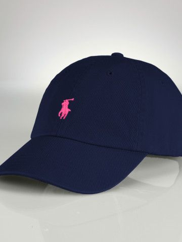 Chino Baseball Cap - Create Your Own Hats Scarves - RalphLauren.com $35 --- you can choose your hat color and stitching color (I like the navy with pink) and can add your monogram (ex: hAn) or initials (ex: hna)