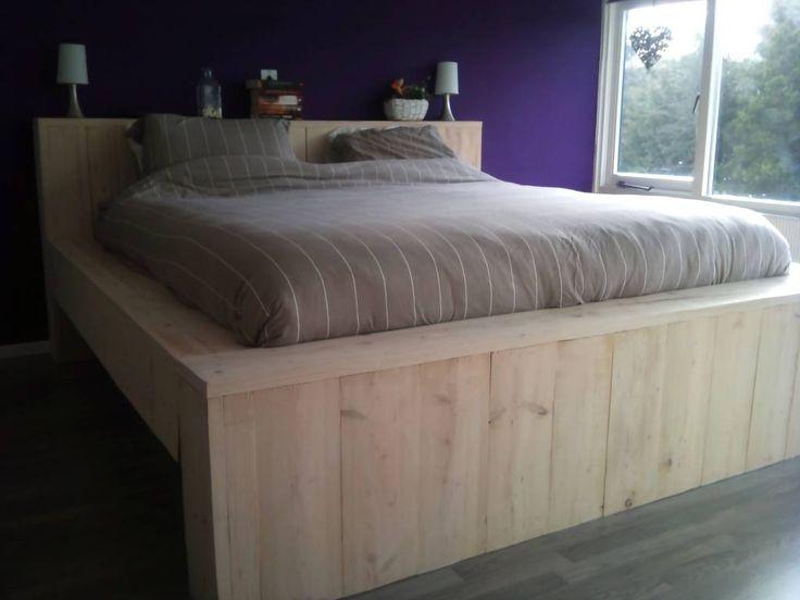 robuust bed van steigerhout  u0026quot;JOHAN u0026quot; nieuwe of gebruikte steigerplanken    Huisje   Pinterest