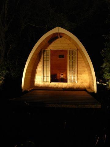 Camping pod at night