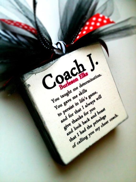 Coach Cheer/Dance Block by DesignsBySyds on Etsy, $13.99 would be a cute gift for mrs bowers :)