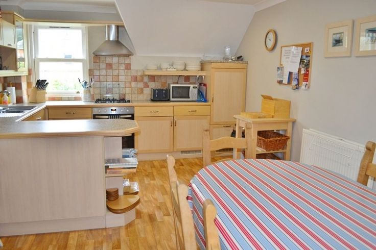 Kitching and dining room - country style. Cosy, clear, neutral tons, kitchen island, Cornish decor