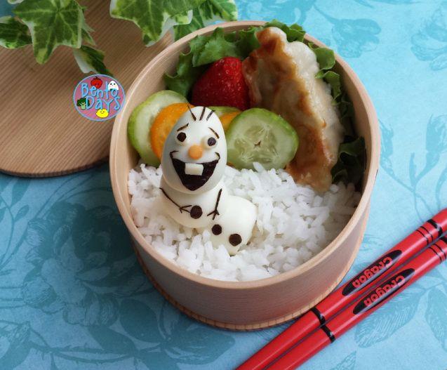 Frozen movie Olaf snowman bento   Bento Days