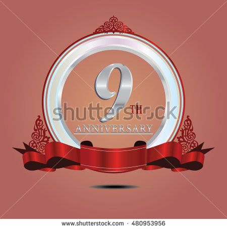 9th anniversary silver logo with indonesia pattern, soft ring color and red…