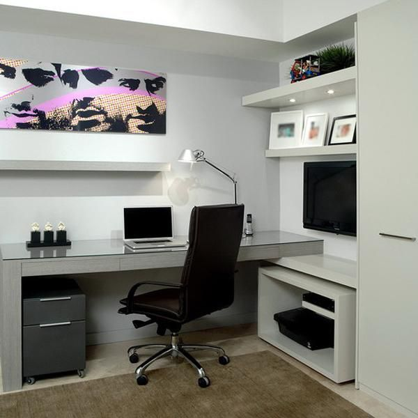 small home office designs with built in furniture in corners - Small Home Office Design