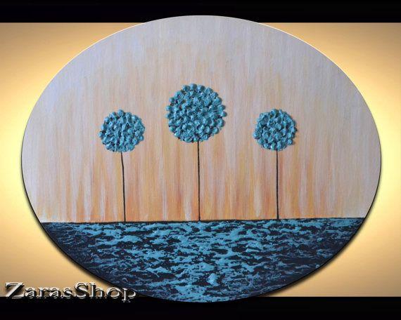 Kids room modern art,  fun blue lollipop trees painting,  unique gift idea for children