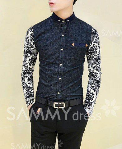 $17.57 Stylish Color Block Pattern Splicing Shirt Collar Long Sleeve Slimming Cotton Shirt For Men