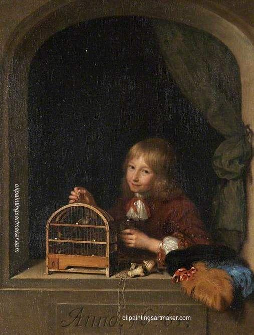 Caspar Netscher Boy with a Birdcage, painting Authorized official website