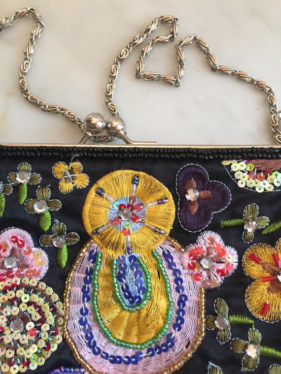 Vintage Beaded Evening Purse Jones New York and Co Floral