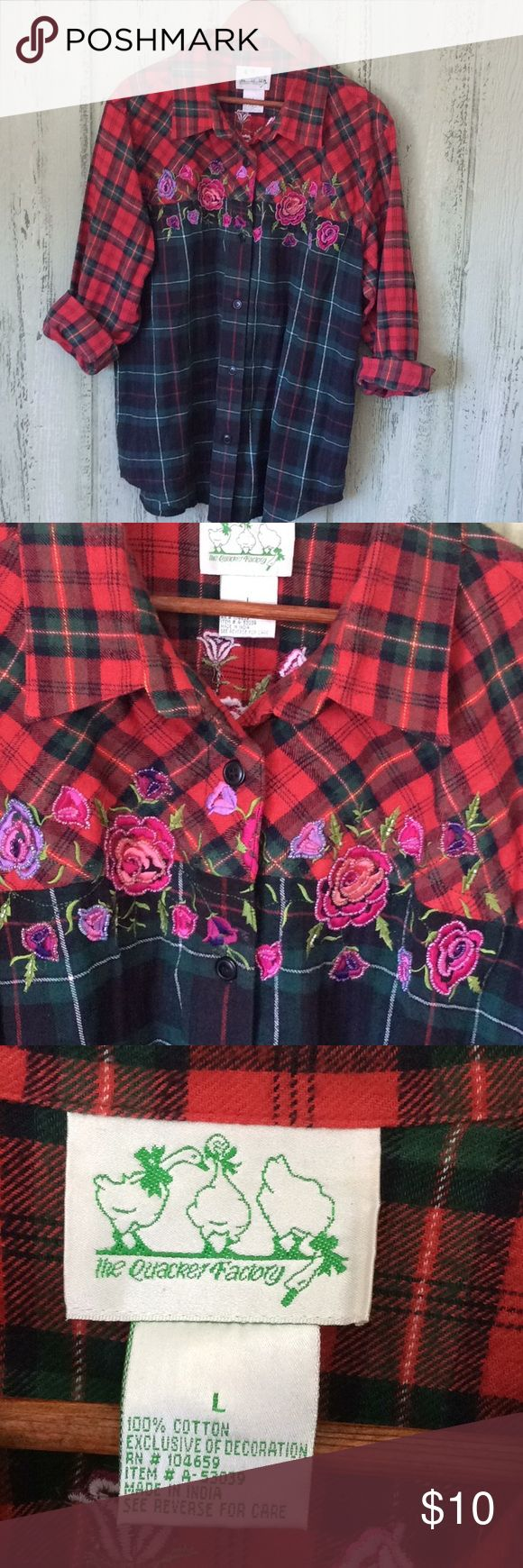 """Beaded flannel shirt the Quaker Factory L Nice weight flannel beaded shirt large. Some beading in places difficult to see. Great with jeans!  Underarm to underarm 23"""" Sleeve from shoulder seam 24"""" Length 29"""" The Quaker Factory Tops Button Down Shirts"""