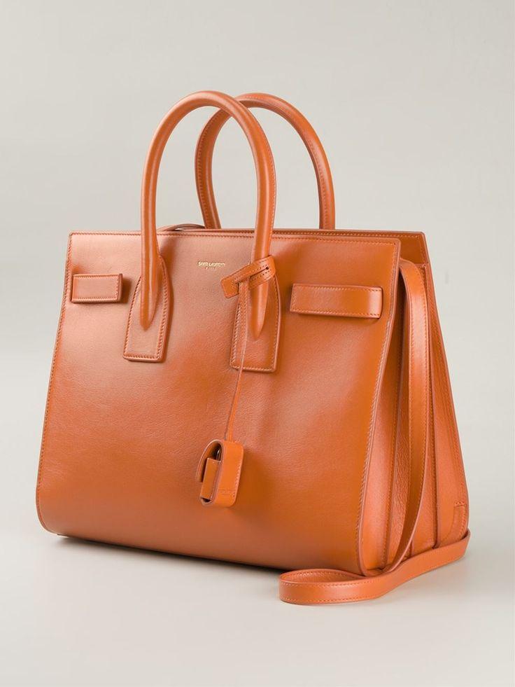 Orange calf leather small 'Sac de Jour' tote from Saint Laurent