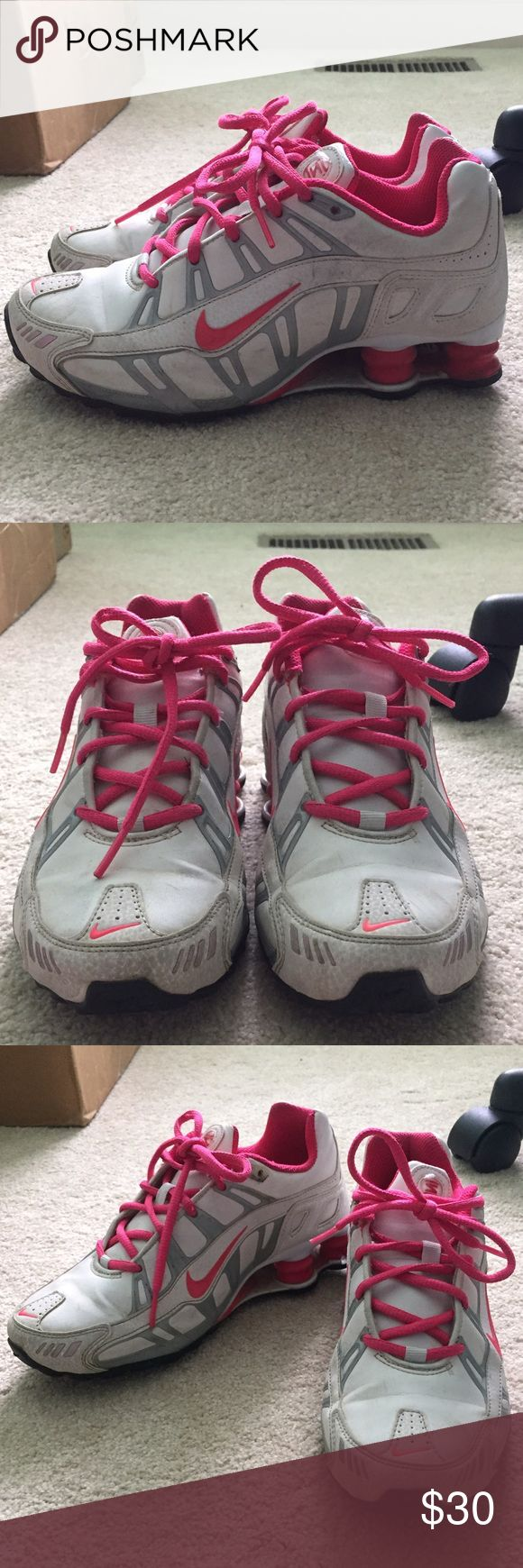Pink and White Nike Shocks Pink and white nike shocks. Slightly dirty but can be cleaned. Overall good condition. Not worn much. Nike Shoes Athletic Shoes