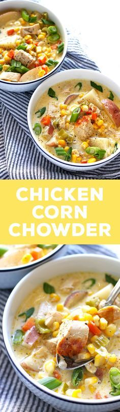 This chicken corn chowder recipe is creamy and hearty comfort food. The recipe is easy to follow and full of veggies! | http://honeyandbirch.com