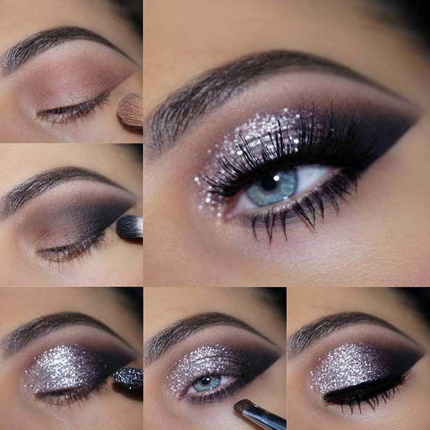 Silber Glitter Eye Makeup Tutorial #glitter #makeup #silber #tutorial