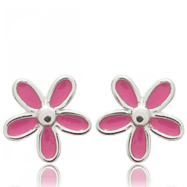 Ladies silver Petales rose pink earrings - Bijoux Paris