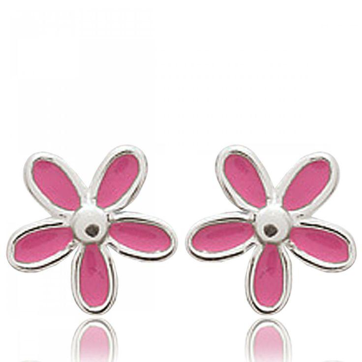 Ladies silver Petales rose pink earrings - Bijoux Paris