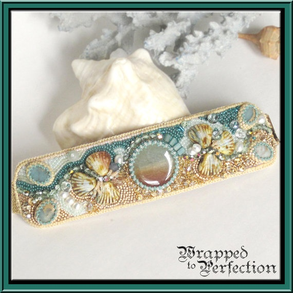 Beach Wedding Bead Embroidered Cuff / Tropical Honeymoon, Destination Wedding, Ocean, Shells, Jasper / STATEMENT JEWELRY / FreeShipUSA. $275.00, via Etsy.