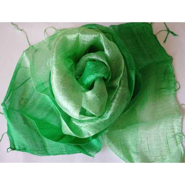 Green Silk Scarf Hand Woven Silk Accessories Wedding Shawl Pure Raw Thai Silk Hand Dyed Bridesmaid Gift For Her Handmade Accessories (€13) found on Polyvore featuring women's fashion, accessories, scarves, bridal shawl, pure silk scarves, silk shawl, silk scarves and shawl scarves