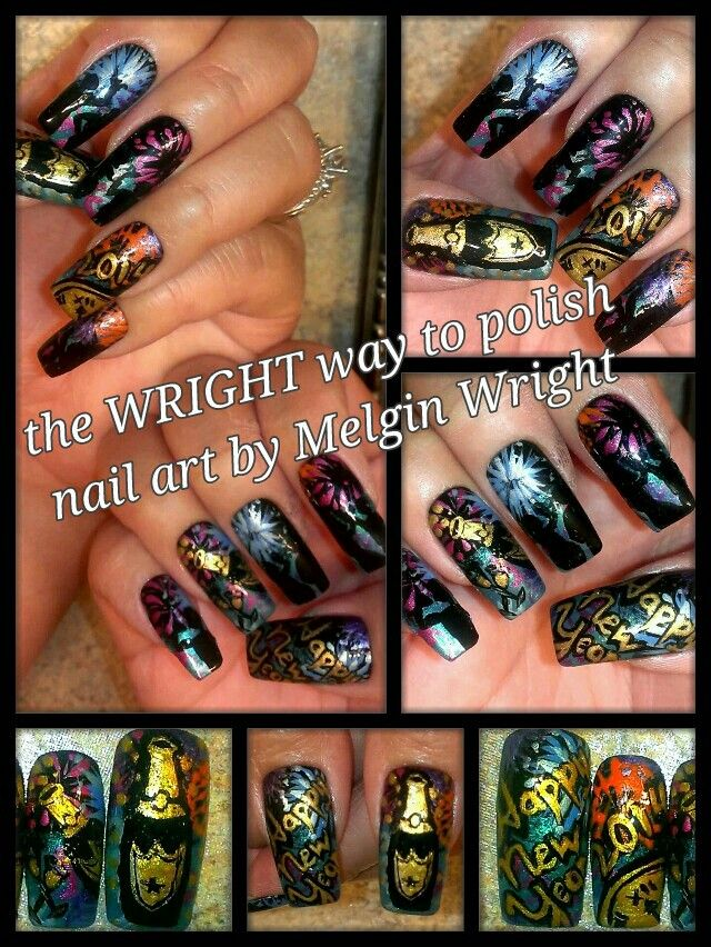 Aussie Style New Year nail art- Hand painted nail art. Painted with Nail polish and acrylic paint by Melgin Wright  http://www.facebook.com/TheWrightWayToPolishNailArtByMelginWright  http://pinterest.com/melginswright/boards/
