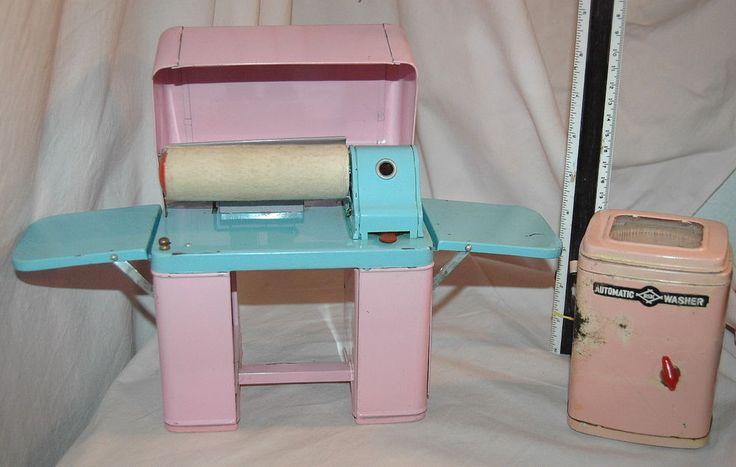 Vintage HTF 50s Pink & Blue Tin Toy Mangle Pressing Iron & DSK Washing Machine