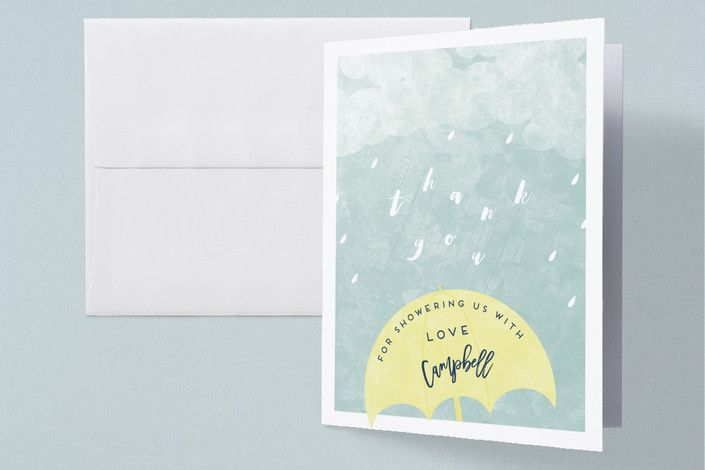 Rain Baby Shower Thank You Cards by Gwen Bedat for Minted #Minted #baby #stationery