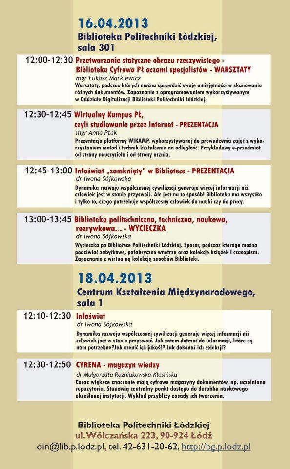 Program imprez organizowanych przez BPŁ na XIII Festiwal Nauki, Techniki i Sztuki w Łodzi, 15-22 kwietnia 2013 r.