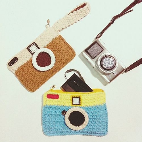 Crocheted camera bag