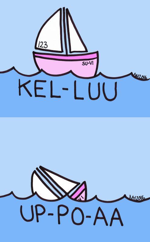 Otsikkolaput: kelluu - uppoaa.