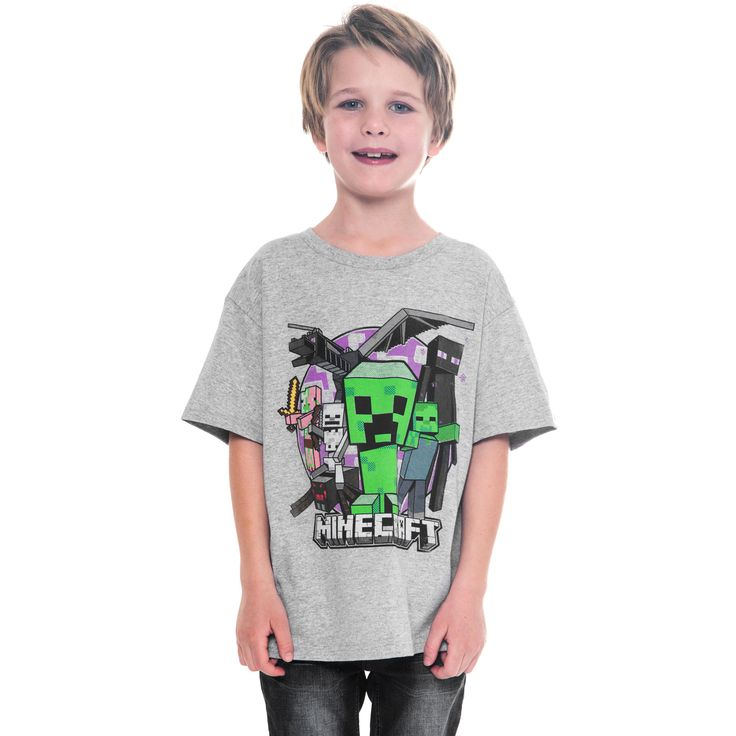 Youth Boys Gray Minecraft T-Shirt