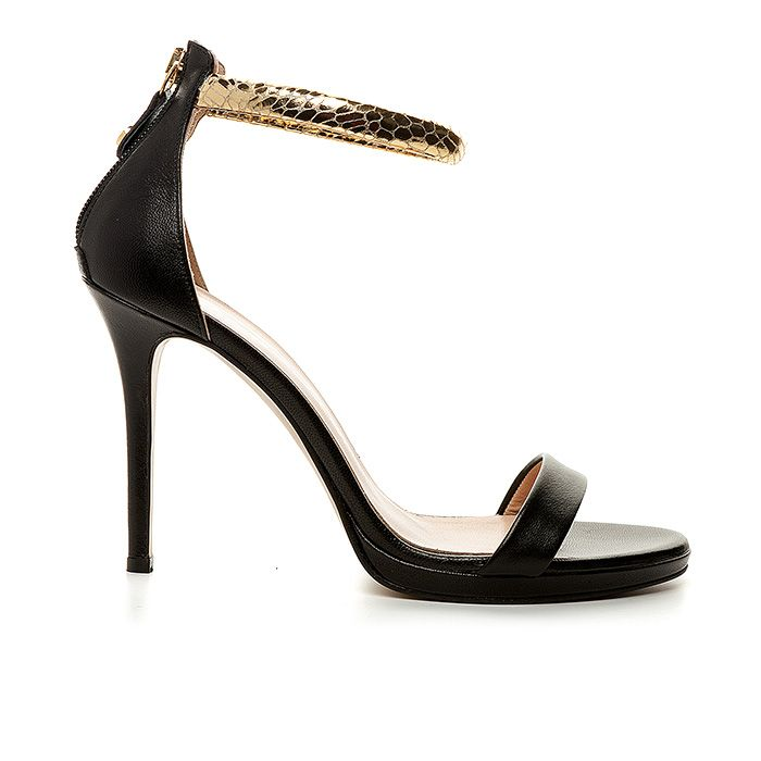 1008B19_BLACK LEATHER www.mourtzi.com #mourtzi #sandals #leathershoes #wearblack #outfit