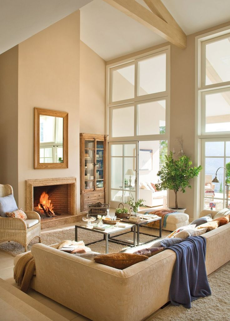 High Ceilings Fireplaces And Window On Pinterest