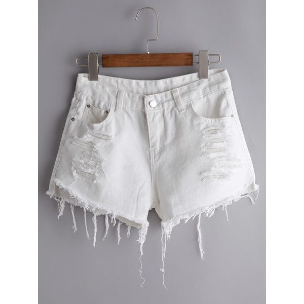 White Ripped Fraying Raw Hem Denim Shorts ($14) ❤ liked on Polyvore featuring shorts, white, destroyed shorts, white shorts, denim shorts, denim short shorts and distressed shorts