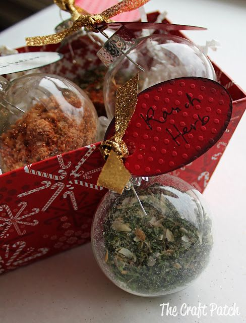 Cute Christmas gift idea... clear glass ornaments filled with homemade seasoning mixes. How adorable!