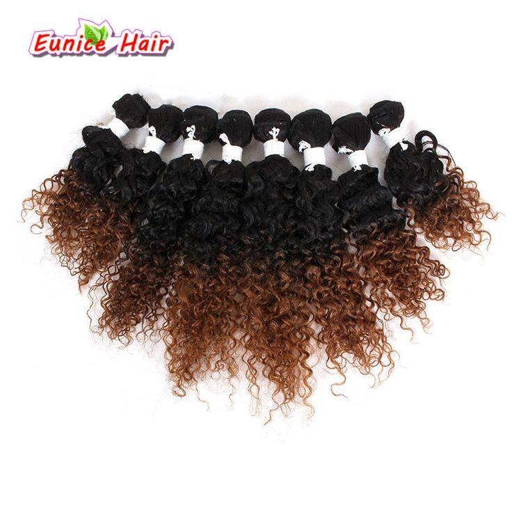 8pcs/lot Human Crochet Curly Hair Ombre Brown/BUG Brazilian Bulk Kinky Curly Hair Two Tone Ombre Kinky Curly Weave Bundles