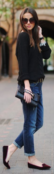 Perfect for those in-between-seasons days...velvet slippers, cuffed jeans, studded clutch, black sweater, sunglasses <3