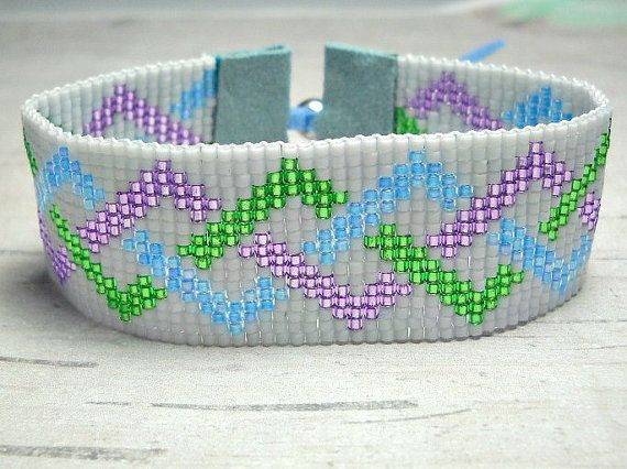 Blue Green and Violet braid Loom Bead by BeadWorkBySmileyKit