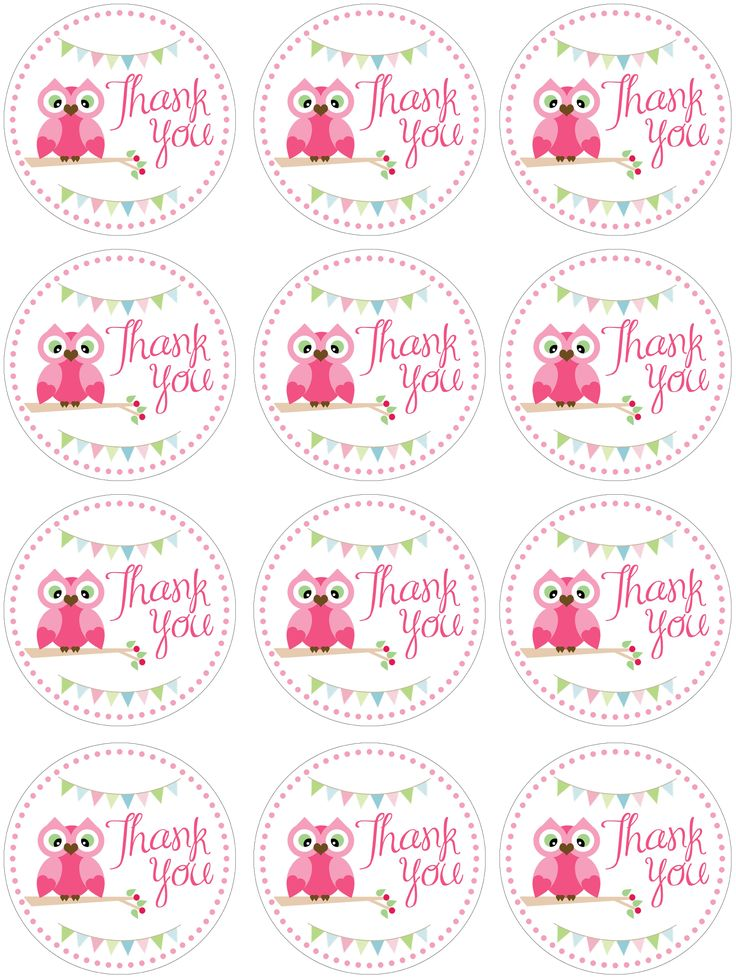 "owl ""thank you"" printables  http://howtonestforless.com/wp-content/uploads/2012/07/owl-birthday-favor-tags.jpg#"