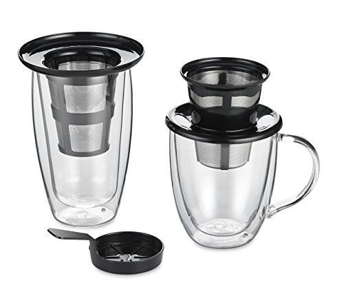 Java Concepts Reusable Single Cup Pour Over Filter forALL Keurig K-cup Brewers, Tea Kettle or iCoffee. (Includes Pour-Over + Tea Infuser + Steeping Cover/Drip Tray) Stainless Steel.