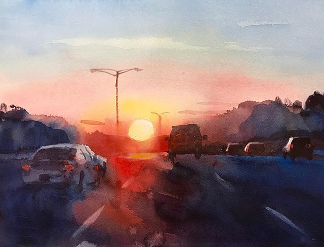 Watercolor Sunrise On Highway Sunrise Watercolor