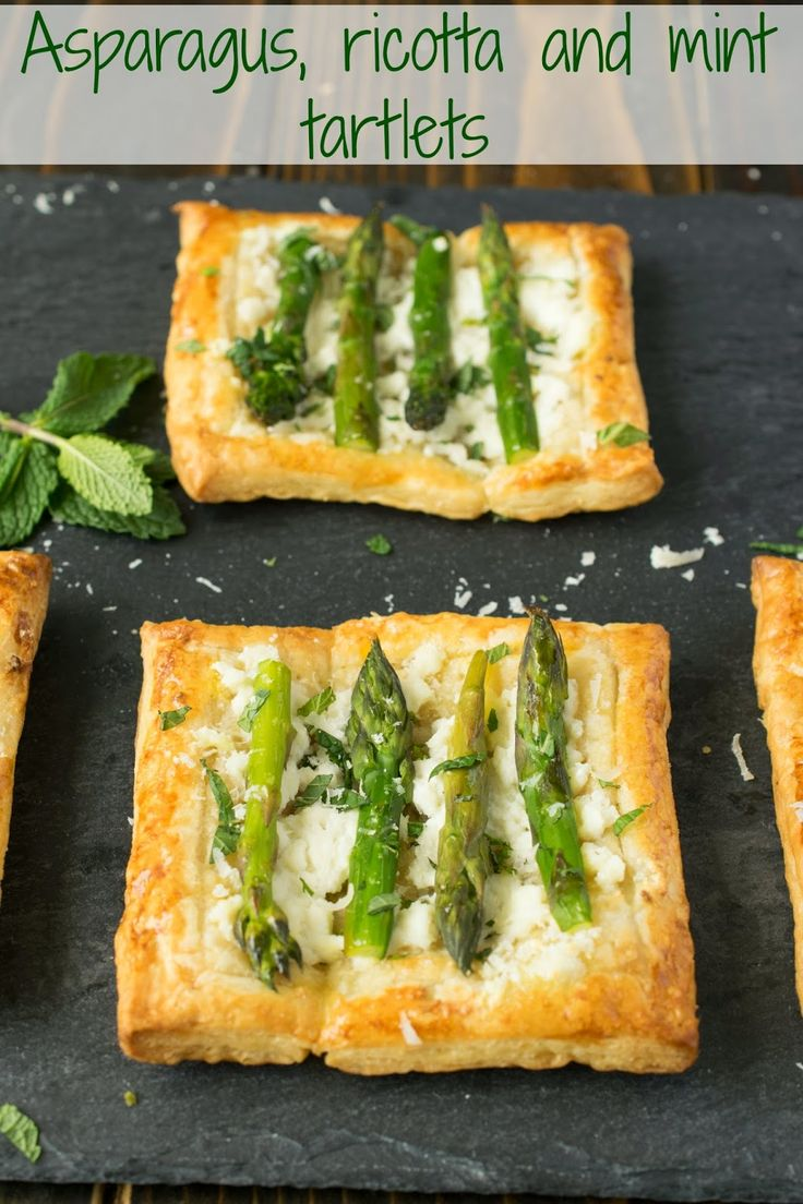 Asparagus, ricotta and mint tartlets. Crispy puff pastry is the perfect bed for homemade ricotta, asparagus and mint. A delicious Spring snack.