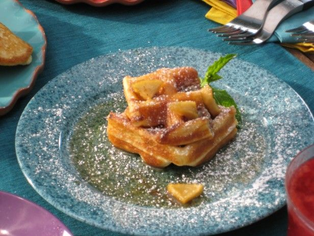 Belgian Waffles with Homemade Cinnamon Sugar Butter and Sauteed Cider ...