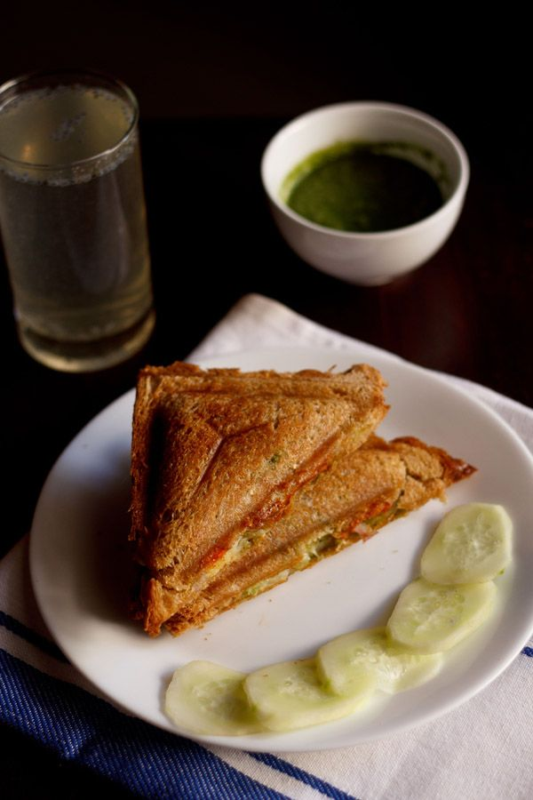 bombay style vegetable cheese toast sandwich recipe with step by step photos. easy and quick to make.