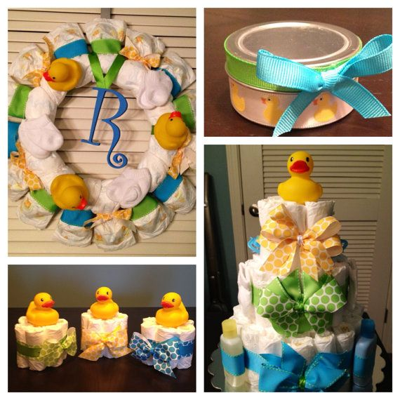Rubber Ducky Baby Shower Decorations Gift Package: Diaper Cake, Wreath, 3 Mini Cakes, 25 Party Favors. Blue Green Yellow Boy Girl Unisex