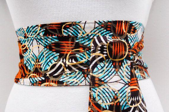 Orange Ankara Obi Belt l African Print Obi Corset Belt   Wax Print Belt   Wide Belt  Corset Belt  Plus size belts  African Print