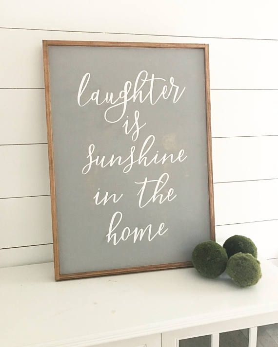 This listing is for one laughter is sunshine in the home home décor sign. Each sign is made to order and hand painted so each sign can come in different colors. ***ADDITIONAL OPTIONS: If you have specific paint colors, please specify when ordering!!! If no color is specified- the sign will