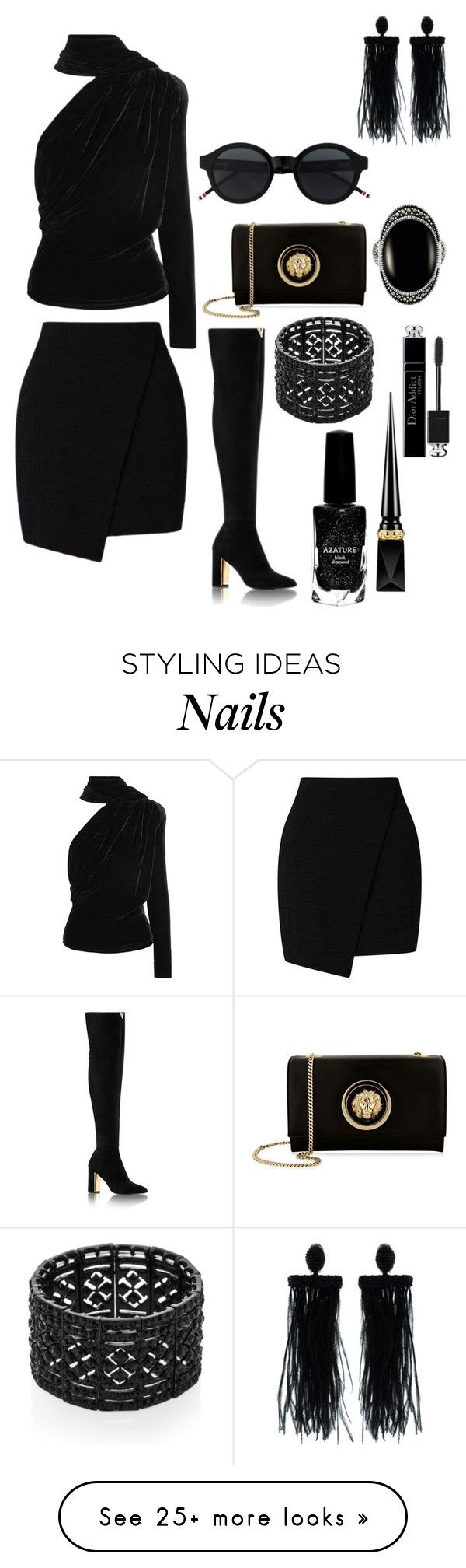 """All Black"" by dazzlers on Polyvore featuring Gareth Pugh, Miss Selfridge, Versus, Oscar de la Renta, Kenneth Jay Lane, Le Vieux, Azature, Christian Louboutin, Christian Dior and allblackoutfit"