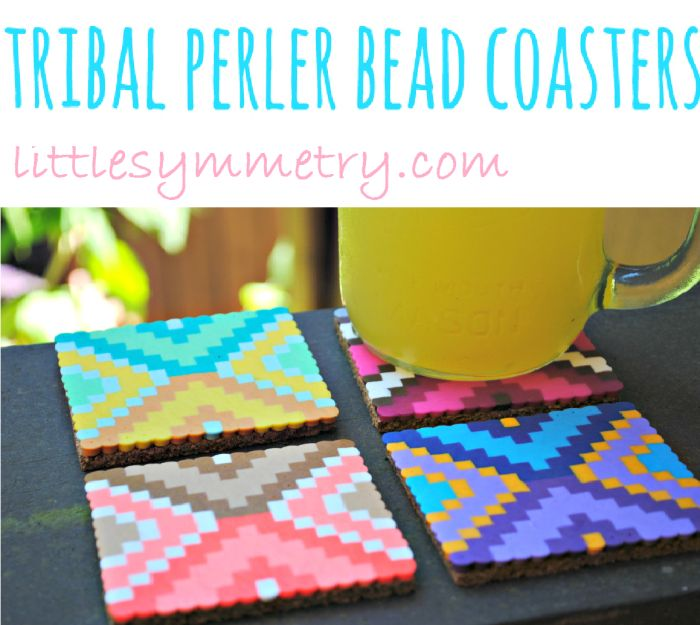 Create some quirky DIY Tribal  Perler Bead Coasters for your home decor! Great project for you and the kids, and will have your friends talking about them when they come over!
