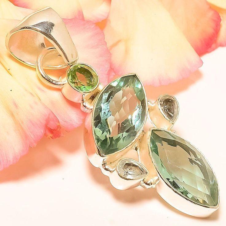 "Aqua Apatite, Peridot 925 Sterling Silver Jewelry Pendant 2.17"" #Handmade #Pendant"